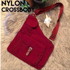 EUC Crossbody Bag-Red Nylon-Tons of Storage-10x11